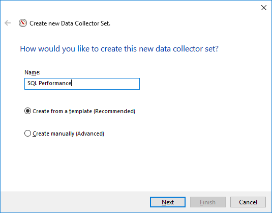 Screen shot of creating new data collector set
